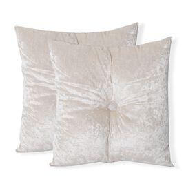 Set of 2 - Off White Colour Crush Velvet Seat Cushion (Size 44x44 Cm)
