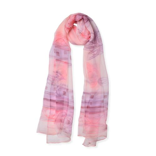 100% Mulberry Silk Pink and Purple Colour Rose Flower Pattern Scarf (Size 170x50 Cm)