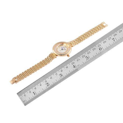 GENOA Japanese Movement White Dial with White Austrian Crystal Water Resistant Watch in Gold Tone with Stainless Steel Back and Chain Strap