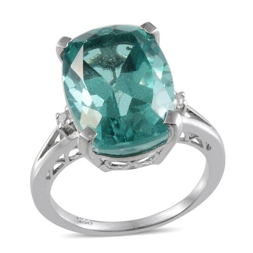 Paraiba Tourmaline Colour Quartz (Cush 11.25 Ct), White Topaz Ring in Platinum Overlay Sterling Silver 11.320 Ct.
