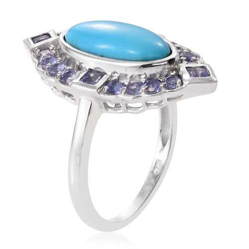 Arizona Sleeping Beauty Turquoise (Ovl 2.85 Ct), Tanzanite Ring in Platinum Overlay Sterling Silver 3.750 Ct.