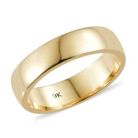 9K Yellow Gold 5mm Band Ring, Gold wt 4.11 Gms.