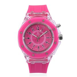 STRADA Japanese Movement Fuchsia Dial Water Resistant Watch in Silver Tone with Fuchsia Silicone Strap