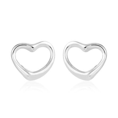 RHAPSODY 950 Platinum Open Heart Stud Earrings (with Screw Back)
