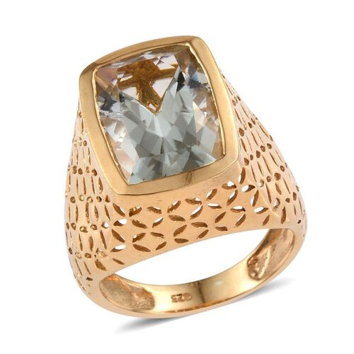 Green Amethyst (Cush) Solitaire Ring in 14K Gold Overlay Sterling Silver 6.750 Ct.