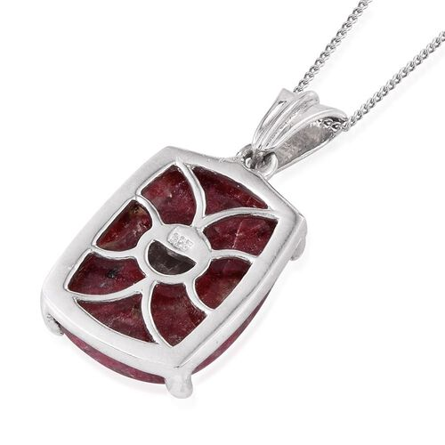 Norwegian Thulite (Cush) Pendant With Chain in Platinum Overlay Sterling Silver 16.000 Ct.