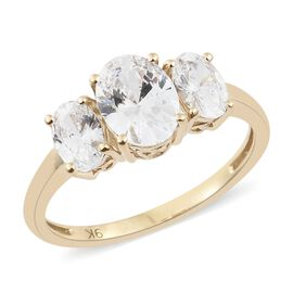 J Francis - 9K Yellow Gold (Ovl) 3 Stone Ring Made with SWAROVSKI ZIRCONIA
