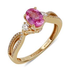 ILIANA 18K Y Gold AAAA Hot Pink Sapphire (Ovl 1.00 Ct), Diamond (SI/G-H) Ring 1.210 Ct.
