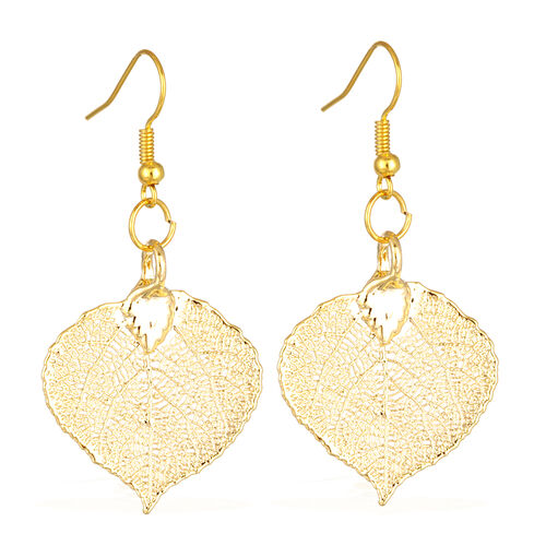Tucson Collection Aspen Leaf Hook Earrings Dipped in 24K Gold (Size 25x34 mm)