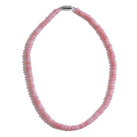 Natural Peruvian Pink Opal (Rnd) Beads Necklace (Size 18) with Magnetic Clasp in Rhodium Plated Sterling Silver 200.000 Ct.