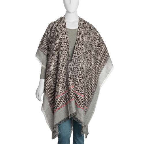 Limited Available - Italian Designer Inspired Chocolate, Grey and Multi Colour Woven Poncho (Free Size)