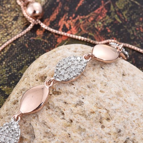 Diamond (Rnd) Adjustable Bracelet (Size 6.5 to 8) in Rose Gold Overlay Sterling Silver 0.400 Ct.