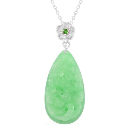 Green Jade and Russian Diopside Pendant With Chain in Rhodium Plated and Platinum Overlay Sterling Silver 22.540 Ct.