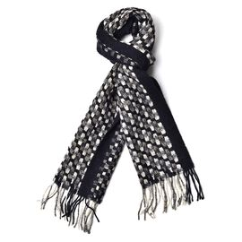 Woolen Black, White and Multi Colour Checker Pattern Scarf with Tassels (Size 180x30 Cm)