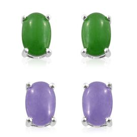 Set of 2 - Green Jade (Ovl), Purple Jade Stud Earrings (with Push Back) in Sterling Silver 3.500 Ct.
