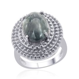 Siberian Seraphinite (Ovl) Ring in Platinum Overlay Sterling Silver 4.500 Ct.