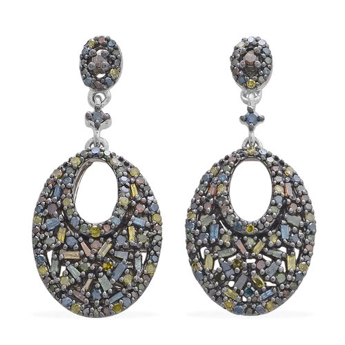 Multi Colour Diamond (Rnd) Earrings (with Push Back) in Platinum and Black Rhodium Overlay Sterling Silver 1.000 Ct.