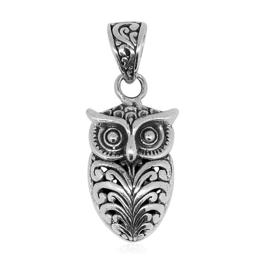 Royal Bali Collection Sterling Silver Owl Pendant, Silver wt. 3.20 Gms.