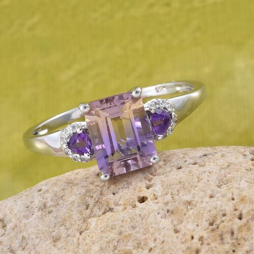 Anahi Ametrine (Oct 2.20 Ct), Amethyst and Natural Cambodian Zircon Ring in Platinum Overlay Sterling Silver 2.500 Ct.