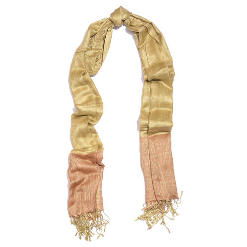 Golden and Brown Colour Paisley Pattern Reversible Scarf with Tassels (Size 200X70 Cm)