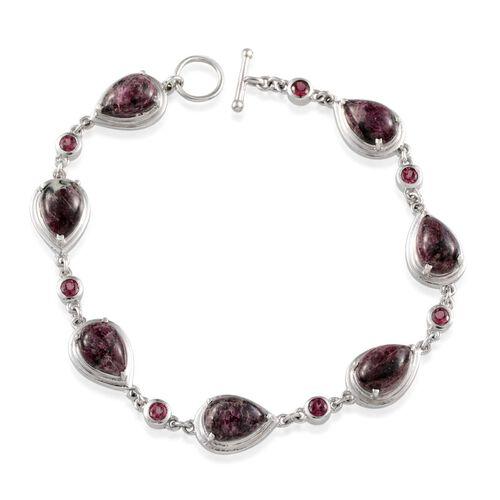 Natural Russian Eudialyte (Pear), Rhodolite Garnet Bracelet in Platinum Overlay Sterling Silver (Size 7.5) 14.500 Ct.