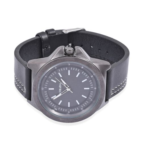 STRADA Japanese Movement Black Dial Water Resistant Watch in Black Tone with Stainless Steel Back and Black Colour Strap