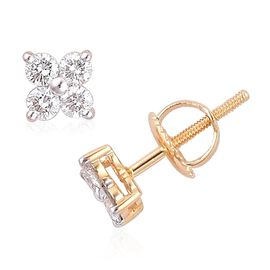ILIANA 18K Y Gold IGI Certified Diamond (Rnd) (SI/G-H) Stud Earrings (with Screw Back) 0.500 Ct.