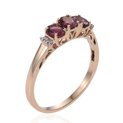 9K Y Gold Rubelite (Ovl), Diamond Ring 1.150 Ct.
