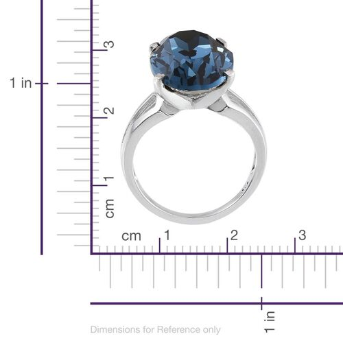 J Francis Crystal from Swarovski - Montana Crystal (Ovl) Ring in ION Plated Platinum Bond