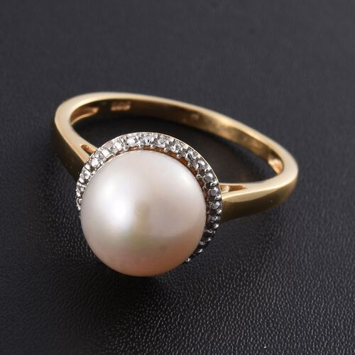 Pearl Solitaire Silver Ring in Gold Overlay