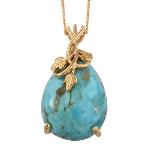 Arizona Matrix Turquoise (Pear) Pendant With Chain in 14K Gold Overlay Sterling Silver 10.750 Ct.