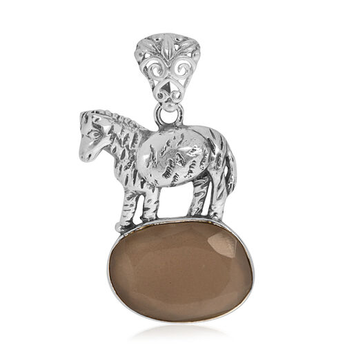 Creature Couture - Zebra Pendant with Sri Lankan Titanium Moonstone in Sterling Silver 6.000 Ct. Silver wt 3.53 Gms.