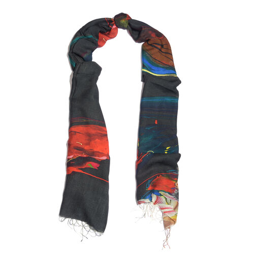 100% Katan Silk Black, Fuchsia and Multi Colour Floral Pattern Scarf with Tassels (Size 200X70 Cm)