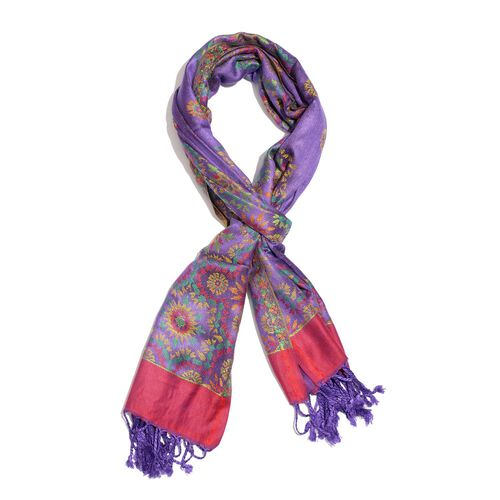 Autumn Winter Special Supersoft Modal Purple, Pink and Multi Colour Floral Pattern Reversible Jacquard Scarf with Tassels (Size 190X70 Cm)