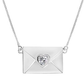 Designer Inspired - J Francis Sterling Silver (Hrt) Envelope Necklace (Size 18) Made with SWAROVSKI  ZIRCONIA