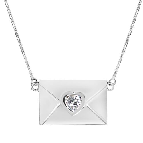 Designer Inspired - J Francis Sterling Silver (Hrt) Envelope Necklace (Size 18) Made with SWAROVSKI  ZIRCONIA