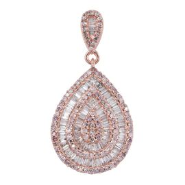 ILIANA 18K R Gold Natural Pink Diamond (Rnd), White Diamond (SI) Tear Drop Pendant 1.000 Ct.