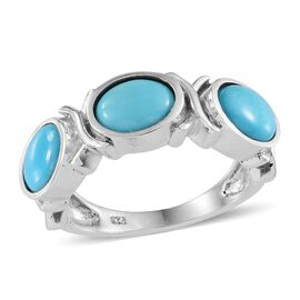 Arizona Sleeping Beauty Turquoise (Ovl) Trilogy Ring in Platinum Overlay Sterling Silver 3.000 Ct.