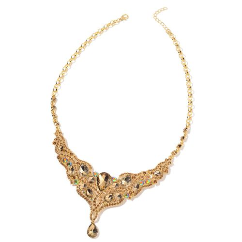 Simulated Champagne Diamond and Champagne Colour Austrian Crystal BIB Necklace (Size 21 with 2 inch Extender) in Yellow Gold Tone