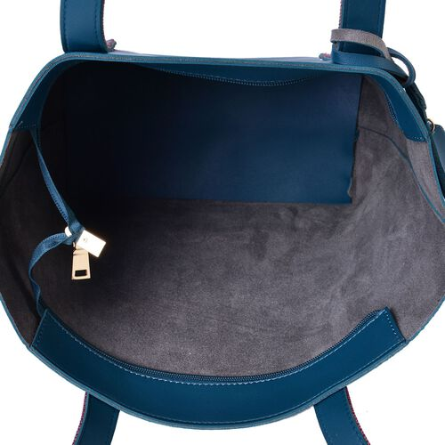 Teal Colour Handbag (Size 41X29.5X27.5X13 Cm) with Multi Colour Shoulder Strap and Pouch (Size 20X12.5 Cm)
