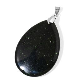 Rare Size Green Sandstone Teardrop Pendant in Rhodium Plated Sterling Silver