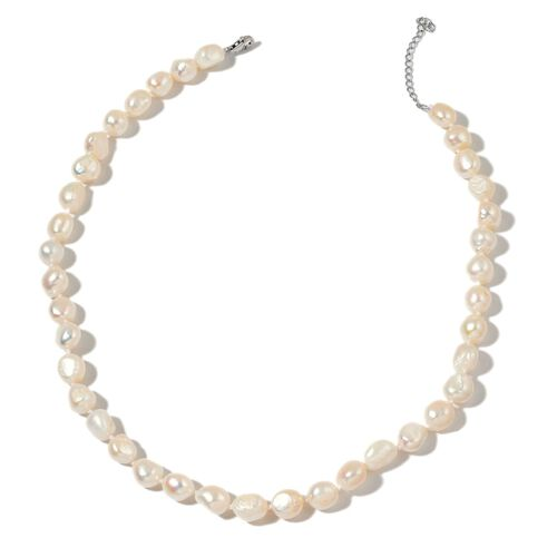 Double Shine Rare Size Fresh Water White Pearl (10-11mm) Necklace (Size 18 with 2 inch Extender) in Rhodium Plated Sterling Silver