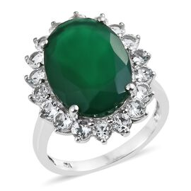 Verde Onyx (Ovl18x13MM 9.25 Ct), White Topaz Ring in Platinum Overlay Sterling Silver 11.250 Ct.