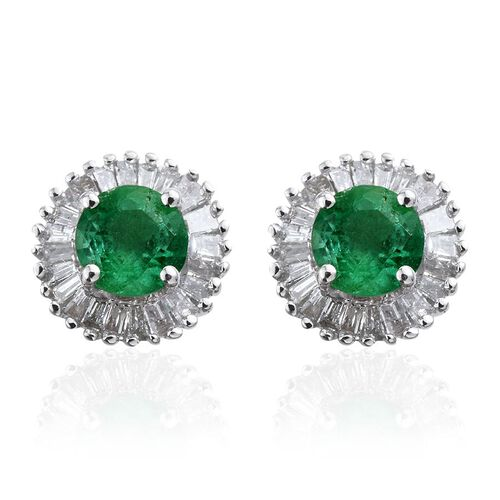 Boyaca Colombian Emerald, Diamond (I3/G-H) Halo Stud Earring (with Push Back) 1 Carat in 9K White Gold