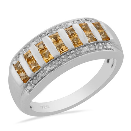Citrine (Mrq), Diamond Ring in Platinum Overlay Sterling Silver 0.666 Ct.