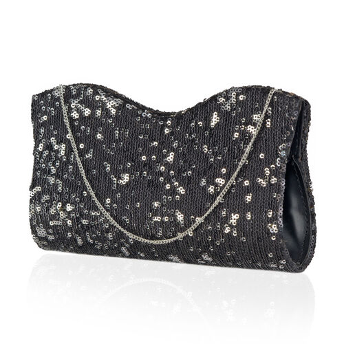 Black Colour Satin Clutch Bag with Silver and Black Sequins and Chain Strap (Size 21x10 Cm)