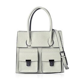 Sienna Mint Green Genuine Leather Croc Embossed Tote Bag with External Zipper and Flip Pockets with Adjustable and Removable Shoulder Strap (Size 28x25.5x12 Cm)