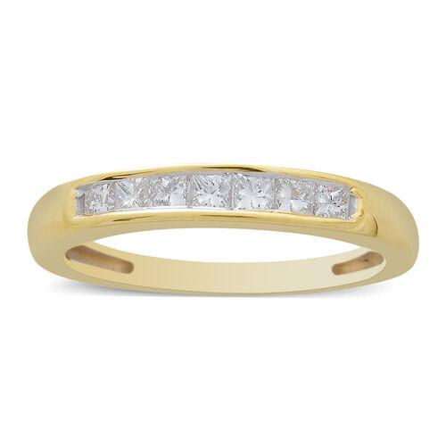 ILIANA 18K Yellow Gold IGI Certified Princess Cut Diamond (SI/G-H) 7 Stone Band Ring 0.500 Ct. Gold wt 3.67 Gms.