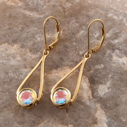 Mercury Mystic Topaz (Rnd) Lever Back Earrings in 14K Gold Overlay Sterling Silver 2.750 Ct.