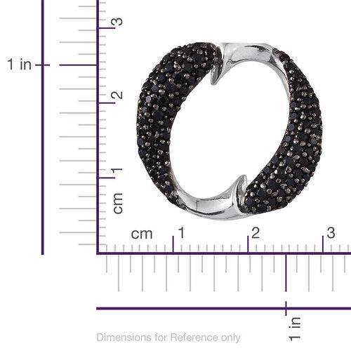 Boi Ploi Black Spinel (Rnd) Fish Circle Pendant in Platinum Overlay Sterling Silver 1.000 Ct.